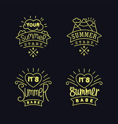 set of thin line summer labels vector image vector image