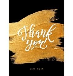 Shine gold foil thank you card calligraphy vector