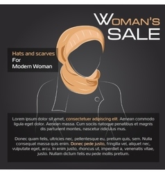 Silouette of woman in autumn hat vector