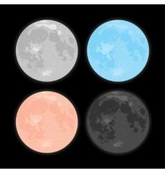 Starry night sky stars moon set vector
