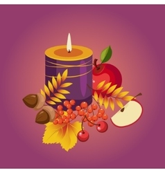 Thanksgiving autumn with candle vector