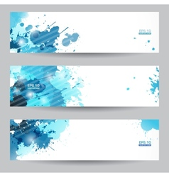 Three abstract artistic headers with blue splats vector