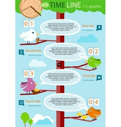 Timeline infographic with colorful birds on tree vector image