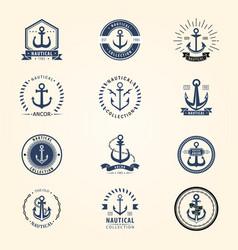 vintage retro anchor badge sign sea ocean vector image