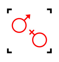 Sex symbol sign  red icon inside black vector