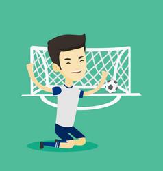 Soccer player celebrating scoring goal vector