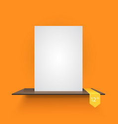 Book shelf on light orange background vector