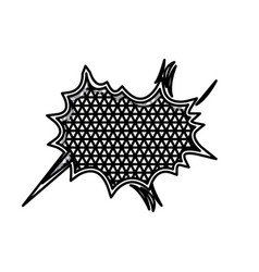 silhouette starry speech with metal grid of vector image