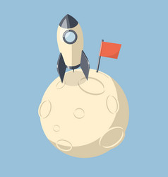 3d rocket spaceship landed on moon vector