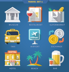 Travel icon set 1 vector