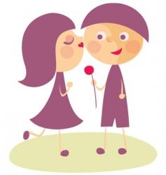girl kissing boy vector image