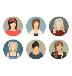 women circle avatar icon set vector image