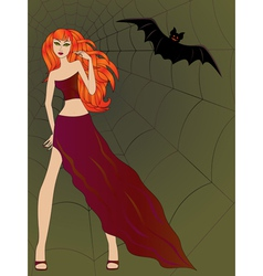 Halloween girl with cat eyes against large cobweb vector