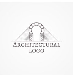 Brick round arch icon with text vector