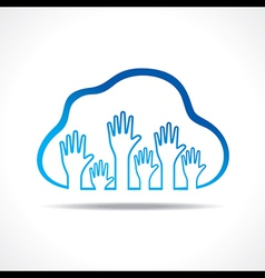 Group of up hands in the cloud vector