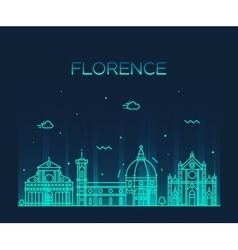 Florence skyline silhouette linear style vector
