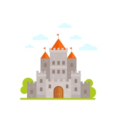 Flat cartoon medieval stone castle isolated vector