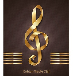 Gold ribbon in the shape of treble clef vector image