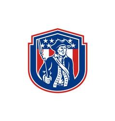 American Patriot Holding Bayonet Rifle Shield vector image vector image