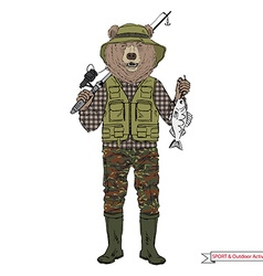 Bear fisherman sport and outdoor activity vector