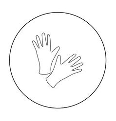 Black protective rubber gloves icon outline vector