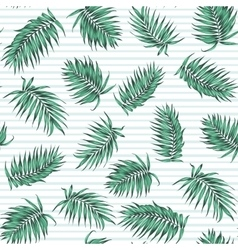 Blue green exotic tropical palm leaves pattern vector