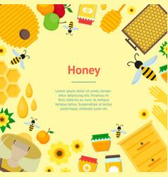 cartoon honey banner card vector image vector image