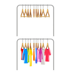 clothing on hangers isolated clothing on hangers vector image vector image