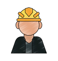 Color pencil cartoon half body faceless worker vector
