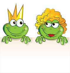couple frog cartoon vector image vector image