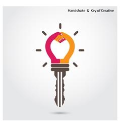 creative key and handshake sign vector image