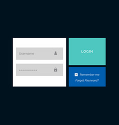 Creative member login form design template vector