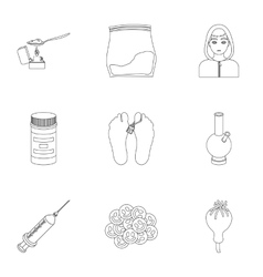 Drugs set icons in outline style Big collection vector image