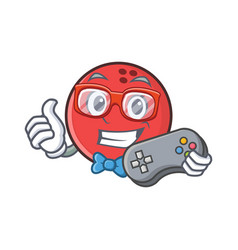 Gamer bowling ball character cartoon vector