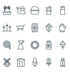 Gardening icons set with bush pot farmhouse jar vector