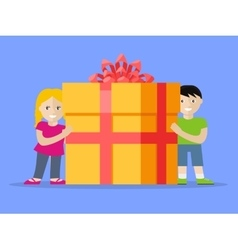 Giving present concept smiling little boy and girl vector