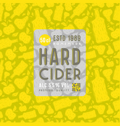 Hard cider seamless pattern and label vector
