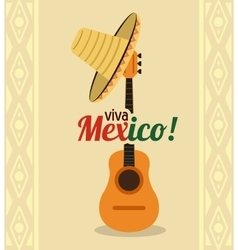 Hat and guitar icon mexico culture vector
