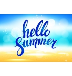 Hello Summer lettering abstract background vector image