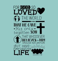 John 3 16 hand lettering bible verse vector