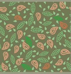 Leafs plats flowers seamless green pattern vector