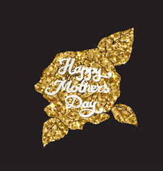 Mothers day golden card happy mom day vector