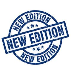 New edition blue round grunge stamp vector