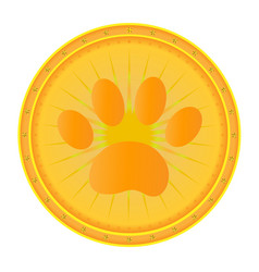 paw print gold medal vector image vector image