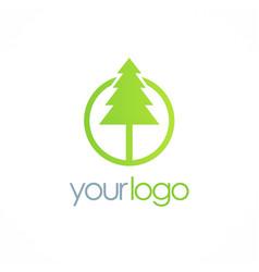 Pine green tree logo vector