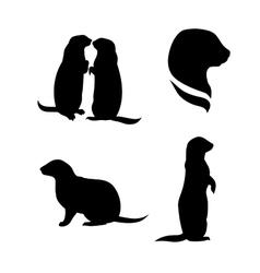 Prairie dog silhouettes vector