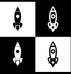 rocket sign black and white vector image vector image