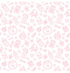 seamless pattern baby food pastel color vector image