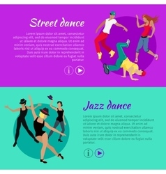 Set of dancing web banners in flat design vector