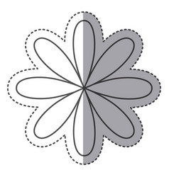 silhouette flower with oval petals icon vector image